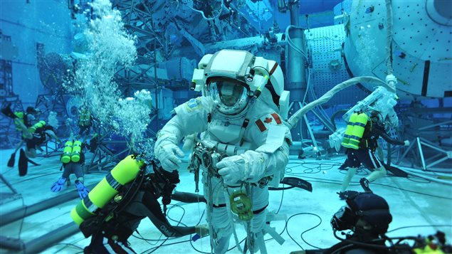 CSA Astronaut David Saint-Jacques during his first spacewalk training at NASA's Neutral Buoyancy Laboratory (NBL) in Houston, Texas.