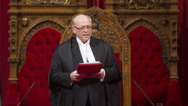The new Senate Speaker George Furey is seen after being sworn in during a ceremony in the Senate chamber in Ottawa, Thursday December 3, 2015.