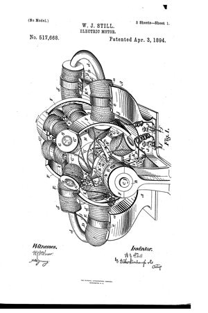 U.S. Patent No. 517,668 submitted in Mar 1893 by WJ Still and drafted by FB Fetherstonaugh