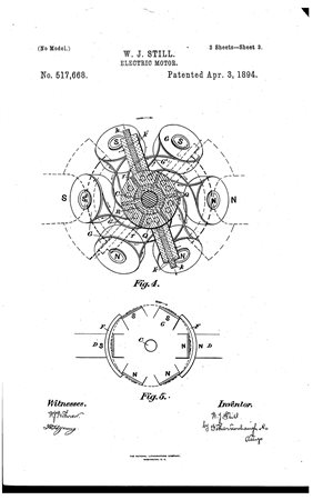 Schematic from the patent application 4:, is an enlarged diagrammatic view showing the commutator and brushes in section and the general arrangement and connection of the wires from the armatures to the commutator. Fig. 5, is a diagrammatic view showing by dotted lines the circle described by the armatures in reference to the ends of the magnets.