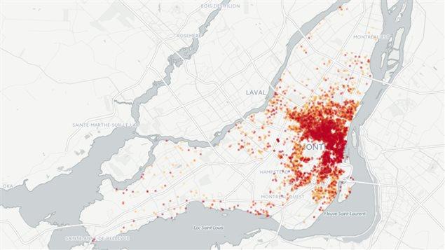 Carte de l'hébergement d'Airbnb à Montréal