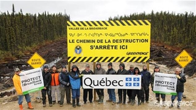 In 2010 Cree and Greenpeace erected a barrier on a development road into the Broadback forests reading