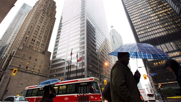 Canada's five major banks dominate the skyline on Bay Street in Toronto. Profits are in the billions, and so are executive bonuses agin this year