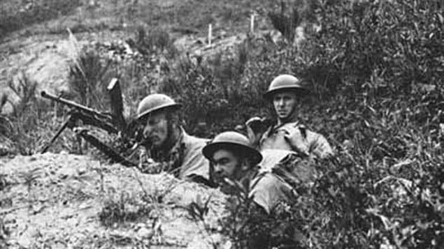 Canadian troops on Hong Kong with Bren gun. and Lee-Enfield bolt action rifles, probably during an exercise. The inexperienced defenders held out for more than 17 days against overwhelming numbers of hardened Japanese invaders.