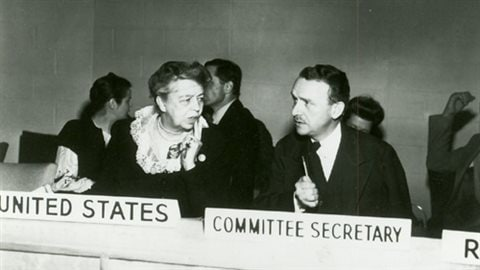 Eleanor Roosvevelt and John P Humphrey circa 1946