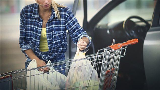 Une femme utilise des sacs de plastiques pour faire ses emplettes