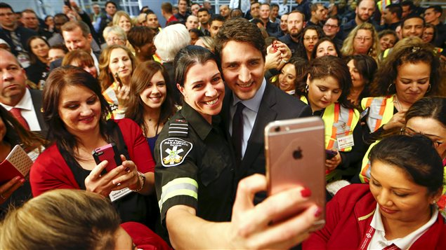 The Liberal candidate Justin Trudeau was famous for taking selfies with people and made extensive use of social media in the election campaign.
