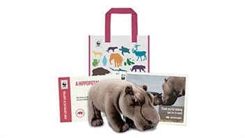 """""""Adoption kits"""" include a plushy, a bag and information about the animal chosen."""