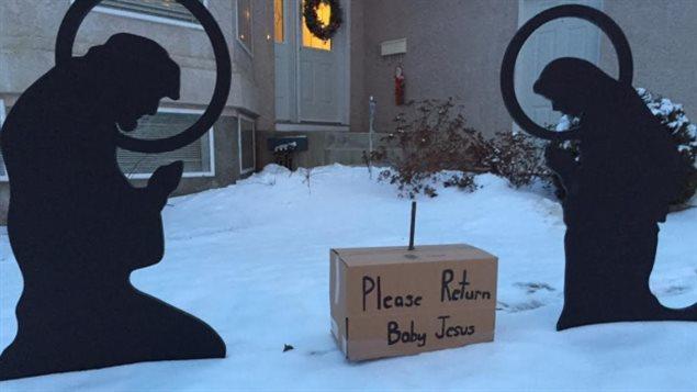 Une dame de Saskatoon espère revoir son bébé Jésus.