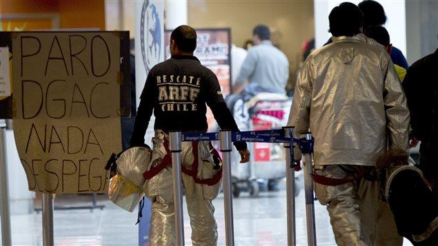 Huelga de la Asociación de Funcionarios de la Dirección General de Aeronáutica de Chile el 15 de septiembre pasado.