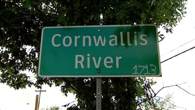 The signs for the Cornwallis River which passed through a Mi'kmaq community, have been removed. Someone has added the date 1713 That was when the French had to hand the terriroty over to the English due to the Treaty of Utrecht. The English did not trust the Mi'kmaq because of their close relationship with the French.