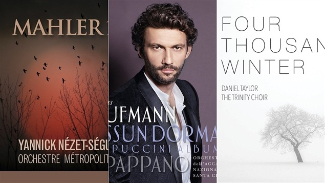 Montage des pochettes de trois meilleurs albums de musique classique de 2015 selon Frédéric Lambert