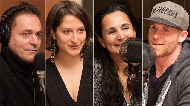 Le comédien Jasmin Roy, l'artiste Sara Hébert, la psychologue Laurie Betito et le comédien Alexandre Goyette
