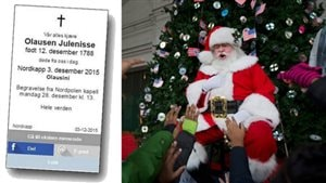 Aftenposten, a Norwegian newspaper had to apologize (left) earlier this month after accidentally publishing a notice that stated Father Christmas, or Santa Claus, was dead. Photo Credit: Aftenposten/Associated Press / Manuel Balce Ceneta