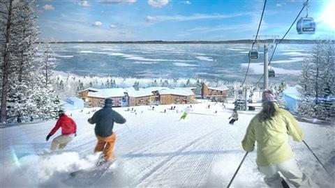 Des skieurs s'amusent vertement.