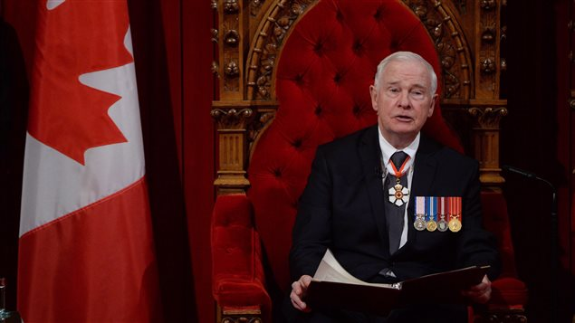 Governor General David Johnston delivers the speech from the throne in the Senate Chamber on Parliament Hill in Ottawa, Friday December 4, 2015.
