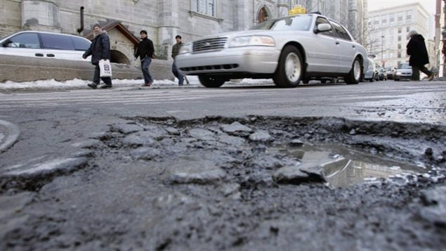 Potholes spring up as soon as the weather gets cold in the province of Quebec and repairs don't usually last long.
