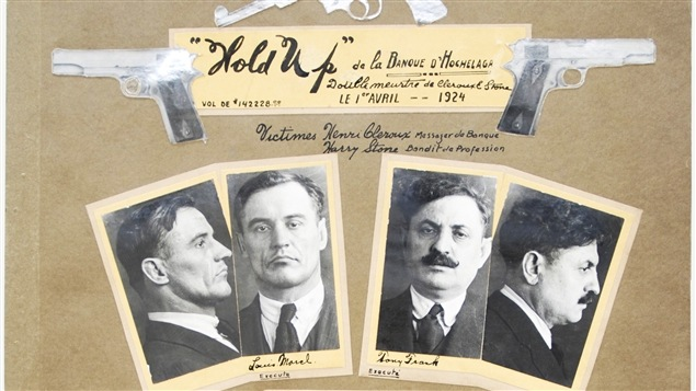 Quelques-uns des truands impliqués dans le hold-up de la Banque d'Hochelaga, en 1924.