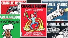 Montage de plusieurs couvertures du journal Charlie Hebdo