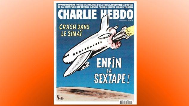La une de Charlie Hebdo du 10 novembre 2015 faisait référence à l'avion russe abattu au-dessus du Sinaï par le groupe armé État islamique. Des porte-paroles du gouvernement russe ont jugé le dessin scandaleux.