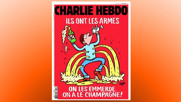 La une de Charlie Hebdo du 18 novembre 2015, cinq jours après les attentats terroristes qui ont fait 130 morts à Paris