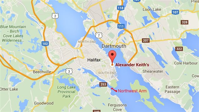 Halifax and harbour showing current location of the Alexander Keith's brewery and the Northwest arm where the 120 year-old beer was found