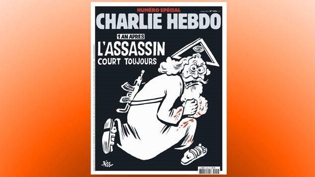 La une de Charlie Hebdo du 6 janvier 2016 représente un Dieu barbu armé d'une kalachnikov coiffé du titre : «1 an après, l'assassin court toujours».