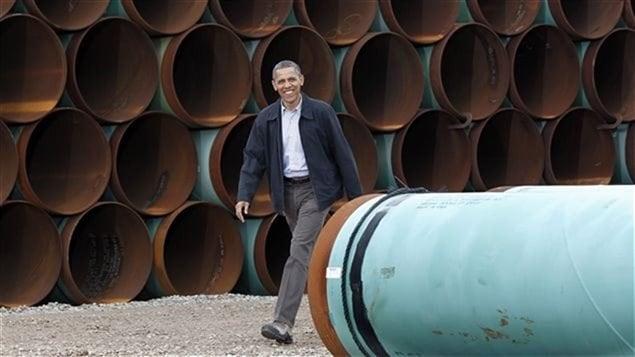 El presidente Barack Obama visitó en marzo de 2012, las instalaciones de TransCanada Corporation en Cushing, Oklahoma.