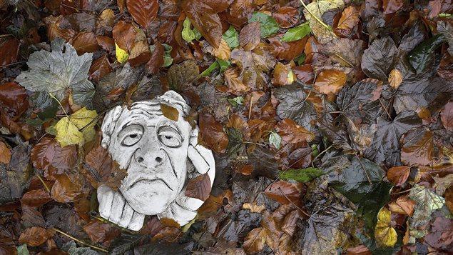 Un gargouille ornemental couvert de feuilles d'automne