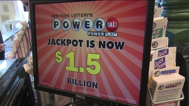 Un point de vente de loterie Powerball aux États-Unis.