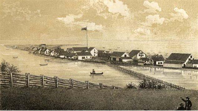 Gravure de Thomas Pye représentant les installations de la compagnie Charles Robin and Company à Paspébiac vers 1866