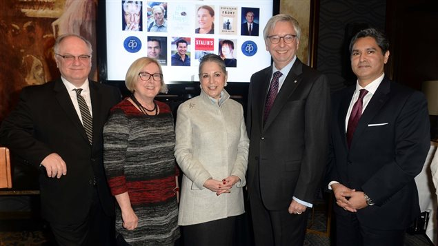 Announcing the five finalists on the shortlist for the 2016 RBC Taylor Prize, with Prize Founder Noreen Taylor (centre), Jurors from left to right, Joseph Kertes, Susanne Boyce, and Stephen J. Toope, with Vijay Parmar of RBC Wealth Management.