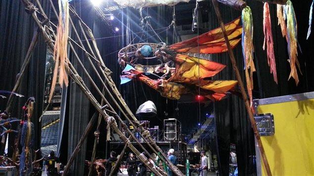 Preparativos para el spectáculo Toruk en Quebec.