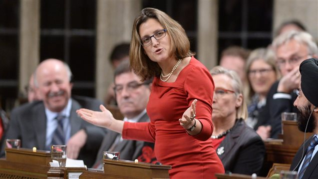 International Trade Minister Chrystia Freeland answers a question during Question Period in the House of Commons in Ottawa, on Monday, Dec. 7, 2015.