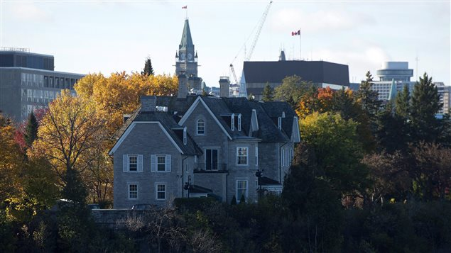 The Canadian prime ministers' official residence in the capital, Ottawa, is pictured here on the banks of the Ottawa River on October 26, 2015.