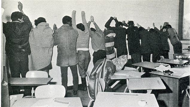 A still image from Ninth Floor, a documentary film about the 1969 Sir George Williams University (now Concordia University) Riot.