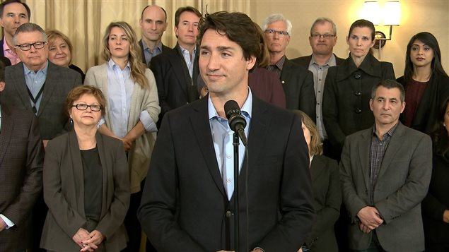 Prime Minister Justin Trudeau speaks at a press conference in St. Andrews, New Brunswick.