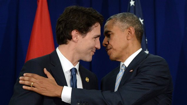 Canadian Prime Minister Justin Trudeau, left, takes part in a bilateral meeting with U.S. President Barack Obama at the APEC Summit in Manila, Philippines on Thursday, November 19, 2015.