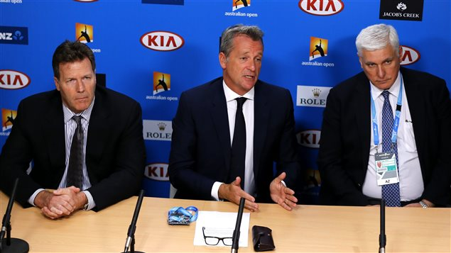 On Jan. 18, 2015, ATP chairman Chris Kermode, centre, denied news reports that unbridled match-fixing has occurred at the highest levels of world tennis.