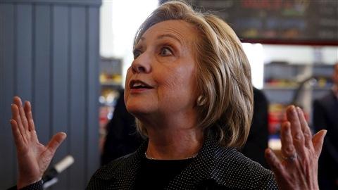 Hillary Clinton, lors d'une rencontre avec des gens d'affaires de l'Iowa mardi dernier.