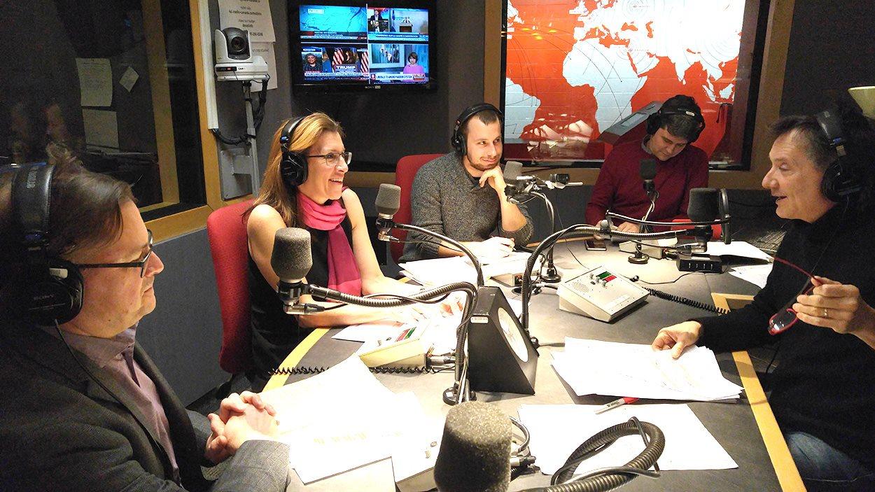 François Meunier de l'ARQ, Julie Faucher de l'ITHQ, Alexis Lamy-Labrecque, serveur et Janic Tremblay, journaliste