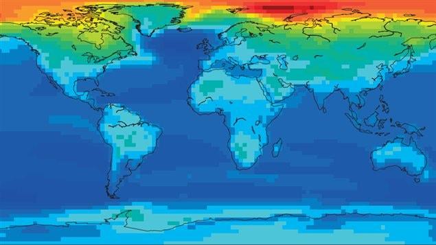 Carte montrant les hausses de températures, selon le modèle qui suppose une quantité deux fois plus grande de CO2 sur un horizon de 20 ans. Les zones en rouge connaissent un réchauffement plus grand que la moyenne et celles en bleu, un réchauffement moins important.