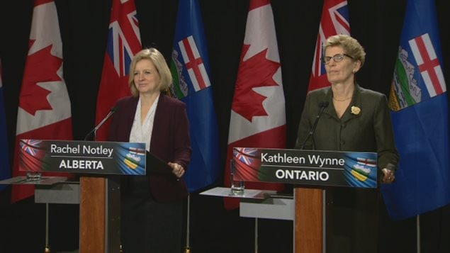 During a press conference following their closed-door meeting this morning the two premiers agreed that climate change is one of the most 'urgent' issues facing both of their provinces. Premier Wynne also indicated support for the Energy-East pipeline