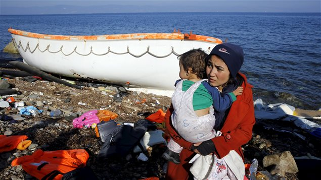 Migrantes en la isla griega de Lesbos.