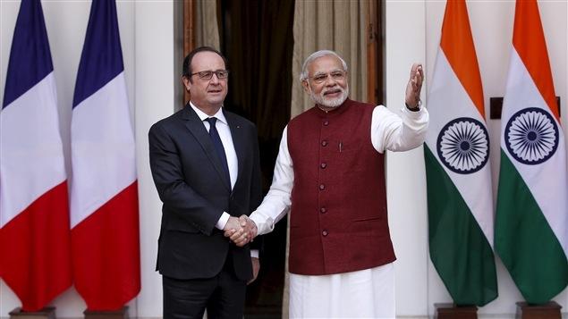 El presidente francés françois Hollande y el primer ministro de India, Narendra Modi.