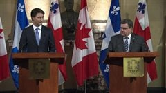 Le premier ministre Justin Trudeau et le maire de Montréal Denis Coderre se rencontrent à Montréal pour discuter du projet d'oléoduc Énergie Est.