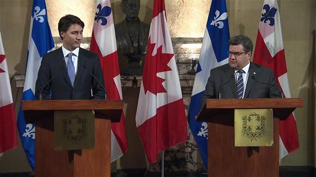 Le premier ministre Justin Trudeau et le maire de Montréal, Denis Coderre Crédit photo : Charles Contant