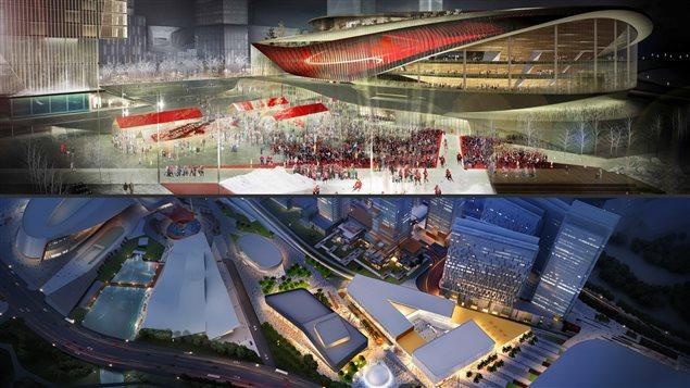 En haut, le projet présenté par RendezVous LeBreton. Sur l'image du bas, une maquette aérienne du projet présenté par DCDLS.