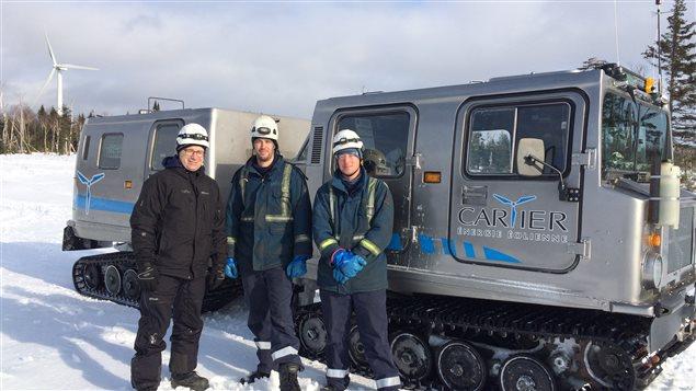 Luc Leblanc, Sébastien Glazer et Frédérick Gough de Cartier énergie éolienne.