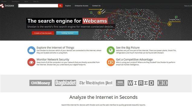 Une capture d'écran de la page d'accueil de Shodan
